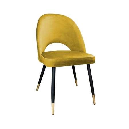 Gelb gepolsterter Stuhl LUNA Material MG-15 mit goldenem Bein