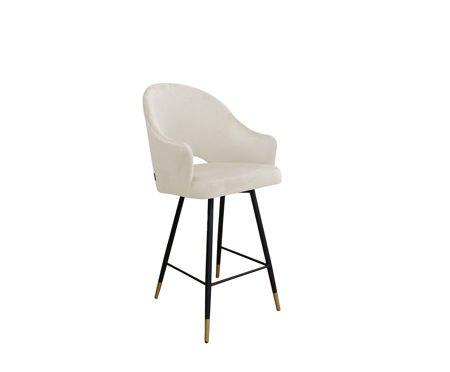 Gepolsterter Sessel DIUNA aus elfenbeinfarbenem Material MG-50 mit goldenem Bein