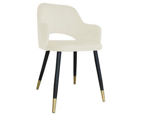 Gepolsterter Stuhl STAR Material aus elfenbeinfarbenem MG-50 mit goldenem Bein