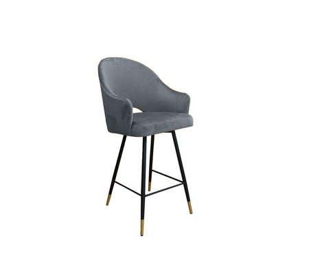 Grauer gepolsterter Sessel DIUNA Sessel Material BL-14 mit goldenem Bein