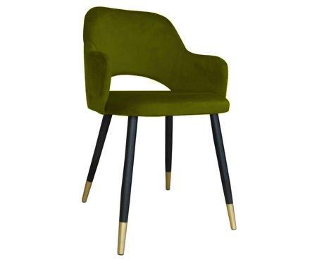Oliv gepolsterter Stuhl STAR Material BL-75 mit goldenem Bein