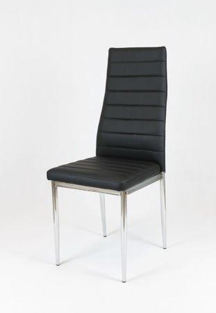 SK Design KS001 Schwarz Kunsleder Stuhl mit Chrome