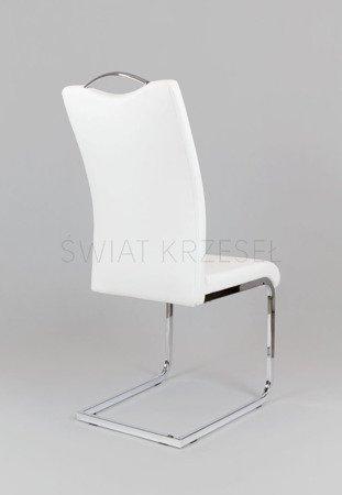 SK Design KS003 Weiss Kunsleder Stuhl mit Chromgestell