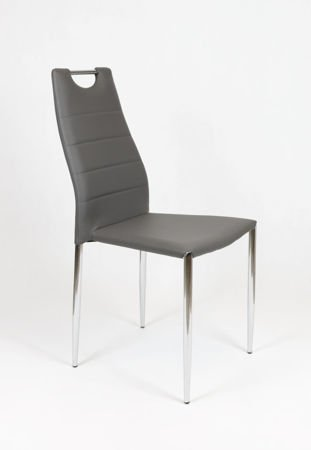 SK Design KS005 Dunkel Grau Kunsleder Stuhl mit Chromgestell