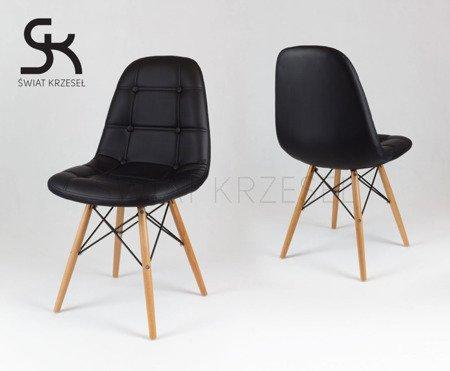 SK Design KS008 Schwarz Kunsleder Stuhl mit Holzbeine