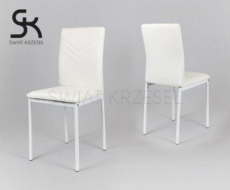 SK DESIGN KS018 WEISS Kunsleder Stuhl Chrome