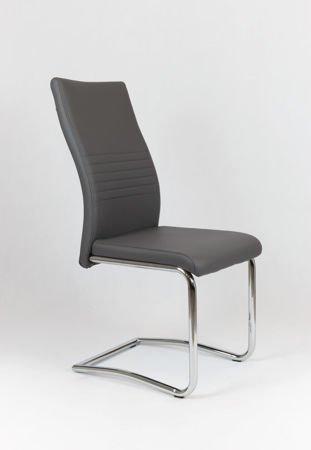 SK DESIGN KS020 DUNKEL GRAU Kunsleder Stuhl mit Chromgestell