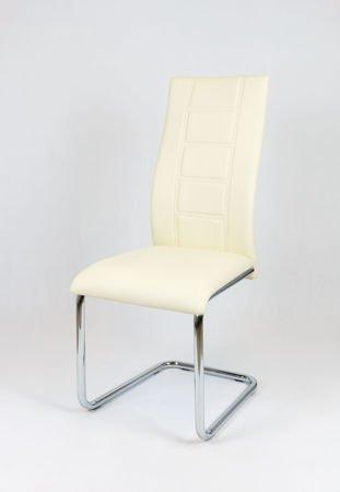 SK Design KS029 CREME Kunsleder Stuhl mit Chromgestell
