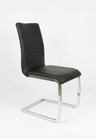 SK DESIGN KS038 SCHWARZ Kunsleder Stuhl mit Chrome