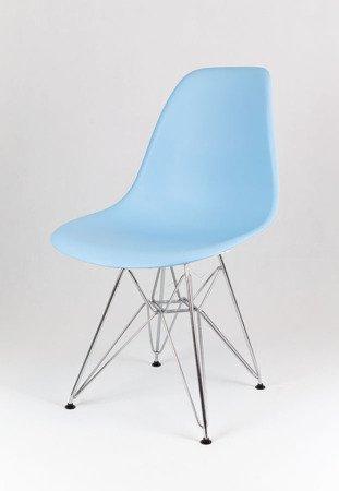SK Design KR012 Hellblau Stuhl Chrom