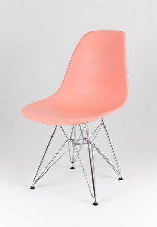 SK Design KR012 Hellrosa Stuhl Chrom