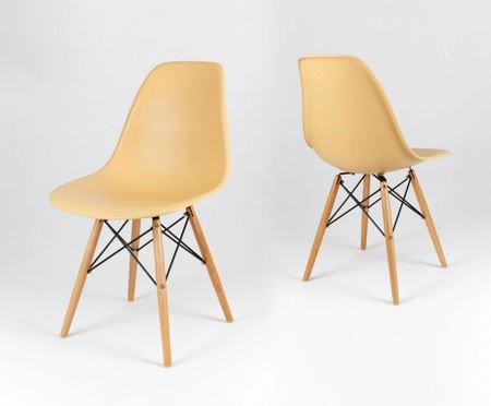 SK Design KR012 Sand Beige Stuhl, Buche
