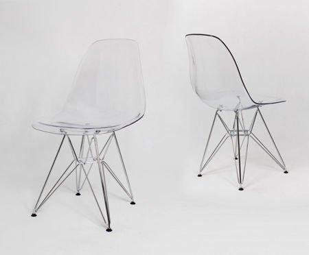 SK Design KR012 Transparent Stuhl, Chrom