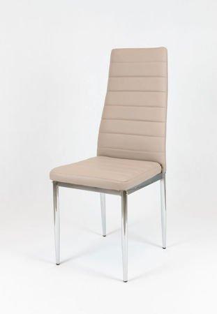 SK Design KS001 Beige Kunsleder Stuhl mit Chromgestell