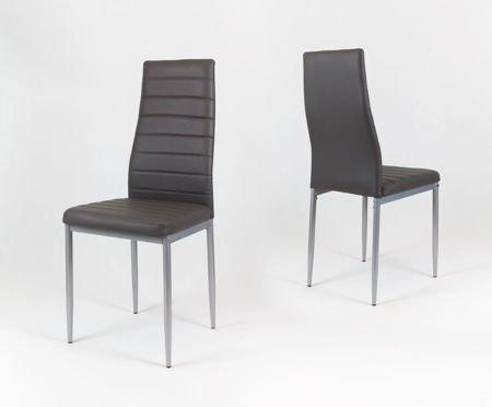 SK Design KS001 Dunkelgrau Kunsleder Stuhl auf einem lackierten Rahmen