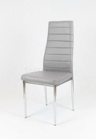 SK Design KS001 Hellgrau Kunsleder Stuhl mit Chromgestell