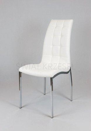SK Design KS002 Weiss Kunsleder Stuhl mit Chromgestell