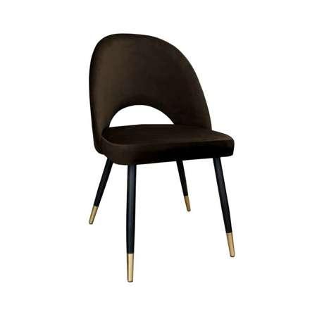 Brązowe tapicerowane krzesło LUNA materiał MG-05 ze złotą nóżką