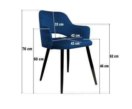 Ciemnoszare tapicerowane krzesło STAR materiał BL-14 ze złotą nóżką