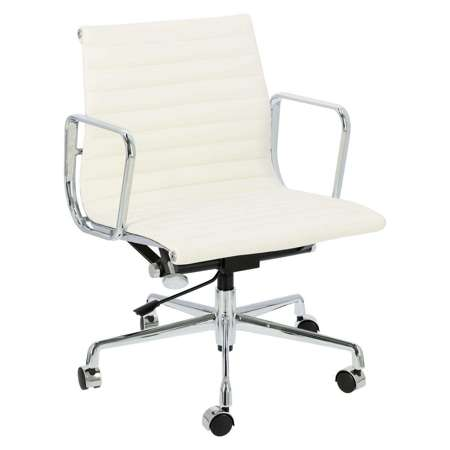 Fotel biurowy CH1171T biała skóra,chrom