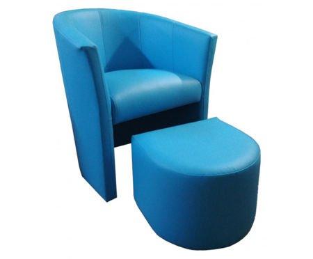 Niebieski fotel CAMPARI z podnóżkiem