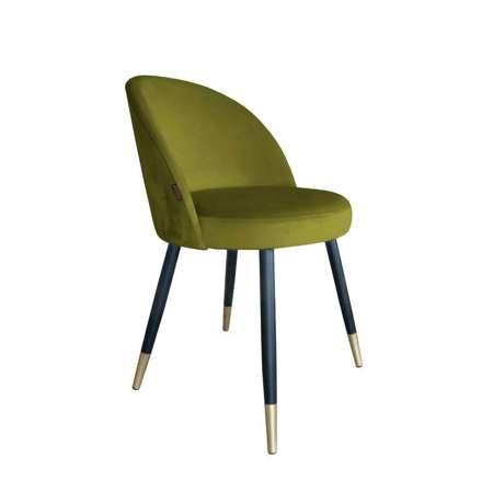 Oliwkowe tapicerowane krzesło CENTAUR materiał BL-75 ze złotą nóżką