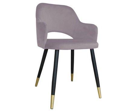 Różowe tapicerowane krzesło STAR materiał MG-55 ze złotą nóżką