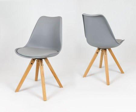 SK Design KR020A Szare Krzesło na Drewnianym Stelażu