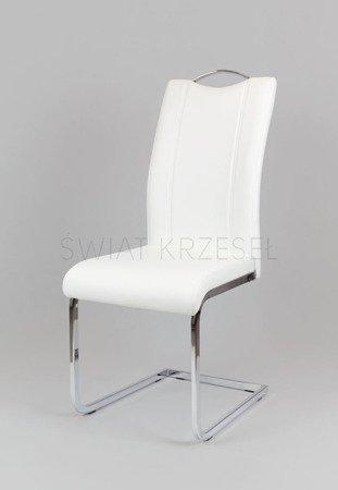 SK Design KS003 Białe Krzesło z Ekoskóry na Stelażu Chromowanym
