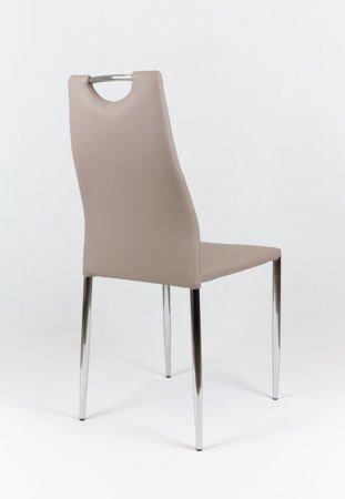 SK Design KS005 Beżowe Krzesło z Ekoskóry na Stelażu Chromowanym