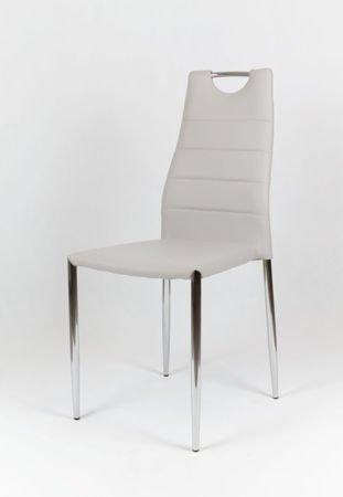 SK Design KS005 Jasnoszare Krzesło z Ekoskóry na Stelażu Chrom