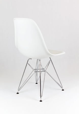 SK Design KR012 Białe Krzesło Chrom