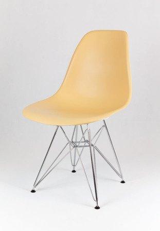SK Design KR012 Piaskowe (beżowe) krzesło, Chromowane nogi