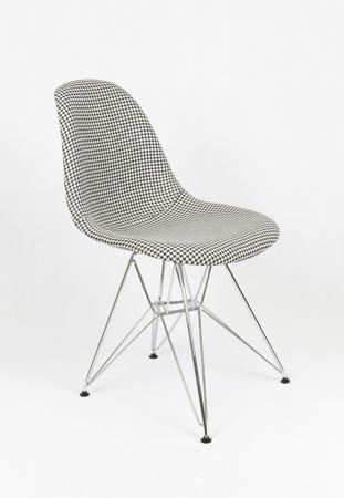 SK Design KR012 Tapicerowane Krzesło Pepitka Chrom
