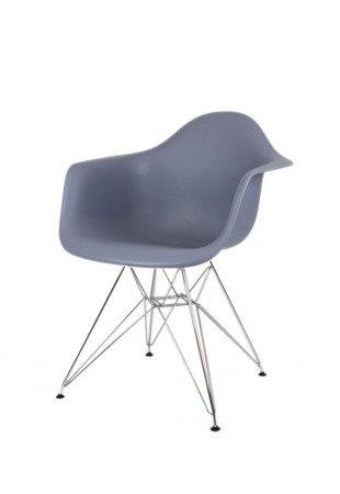 SK Design KR012F Ciemnoszary Fotel Chrom