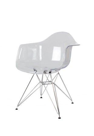 SK Design KR012F Transparentny Fotel Chrom