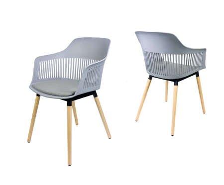 SK Design KR064 Jasnoszare Krzesło Tapicerowane