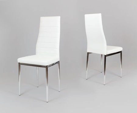 SK Design KS001 Białe Krzesło z Eko-skóry, Chromowane nogi