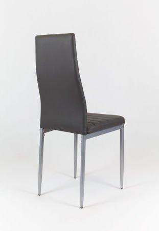 SK Design KS001 Ciemnoszare Krzesło z Eko-skóry, Szare nogi