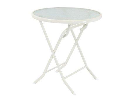 SK Design ST08 Biały-Szklany Stół Składany Ø 70 cm