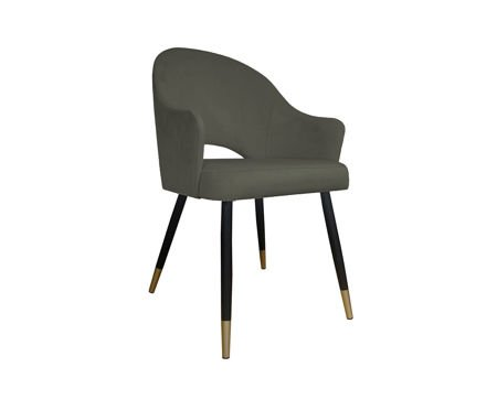 Szare tapicerowane krzesło fotel DIUNA materiał MG-17 ze złotymi nóżkami