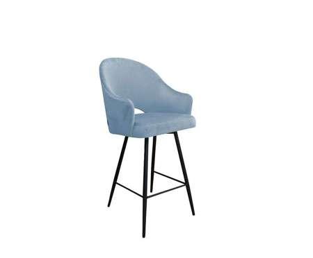 Szaroniebieski tapicerowany hoker fotel DIUNA materiał BL-06