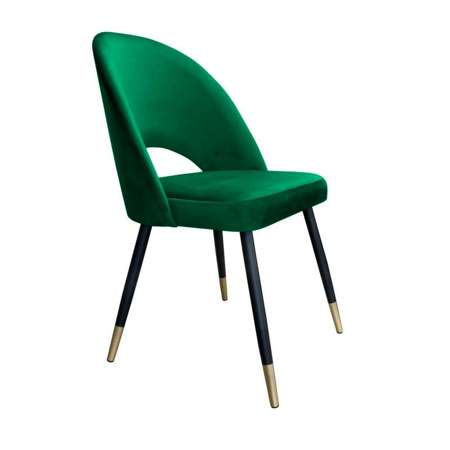 Zielone tapicerowane krzesło LUNA materiał MG-25 ze złotą nóżką
