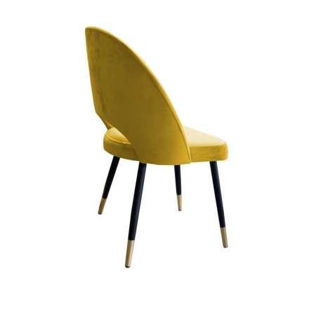 Żółte tapicerowane krzesło LUNA materiał MG-15 ze złotą nóżką