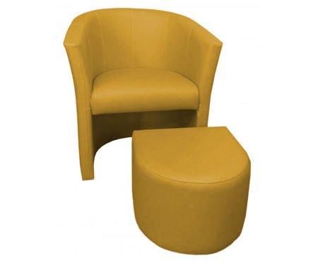 Żółty fotel CAMPARI z podnóżkiem